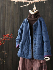 Winter Round Neck Single-Breasted Vintage Plaid Cotton Coat