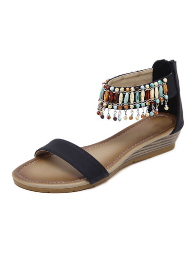 Summer Daily Folk Style Back Zip Tassel Wedge Heel Sandals