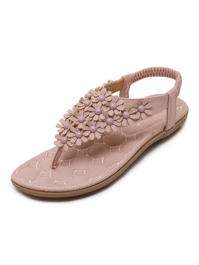 Summer Elastic Sweet Rivets Flower Low Heel Slippers Sandals