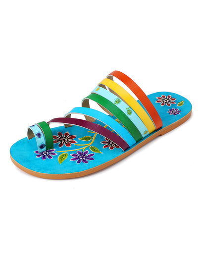 Summer Spring Hand Painted Flower Chunky Heel Euro-American Sandals