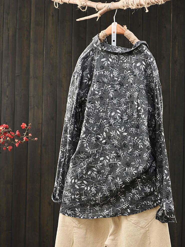 Stand Collar Vintage Floral Spring Long Sleeve Loose Blouse