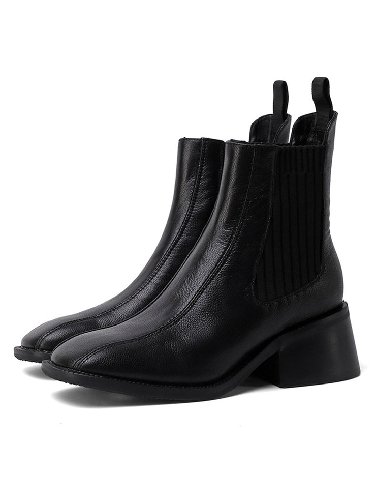 Fall Winter Slip-On Square Toe Ankle Leather Chelsea Boots
