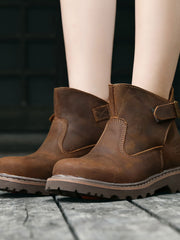 British Ankle Buckle Vintage Leather Martens Boots