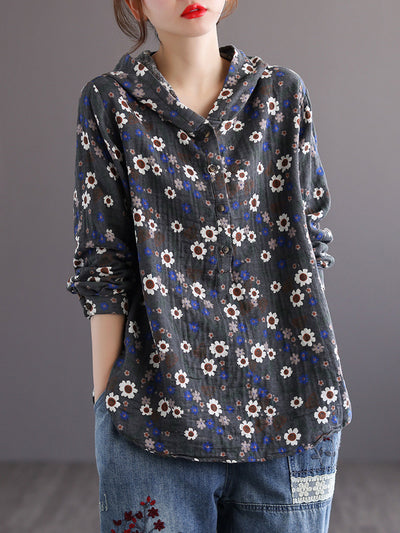 Spring Summer Vintage Paisley Hooded Long Sleeve Pullover Blouse