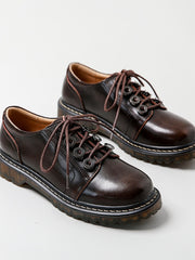 Lace-Up Front Round Toe Flat Heel Preppy Fall Leather Brogues