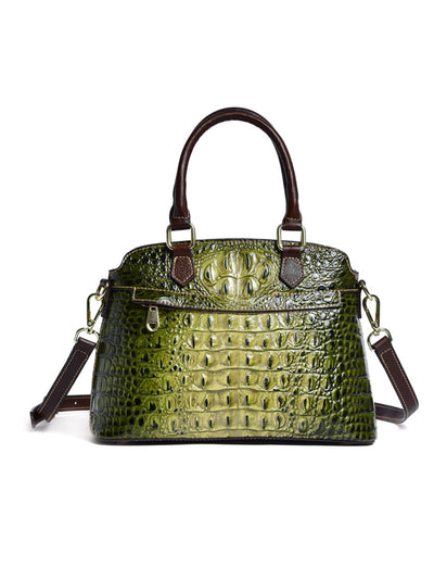 Vintage Crocodile Pattern Print Leather Shoulder Bag