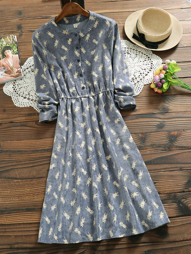 Print Mid-Calf Fall Spring Sweet Stand Collar A-Line Dress
