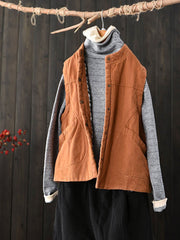 Stand Collar Patchwork Pocket Standard Vintage Cotton Vest