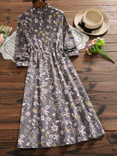 Spring Patchwork Ankle-Length Sweet Print Pullover Corduroy Dress