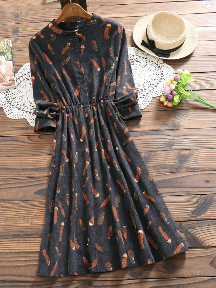 Print Stand Collar Sweet Spring Mid-Waist Pullover Dress