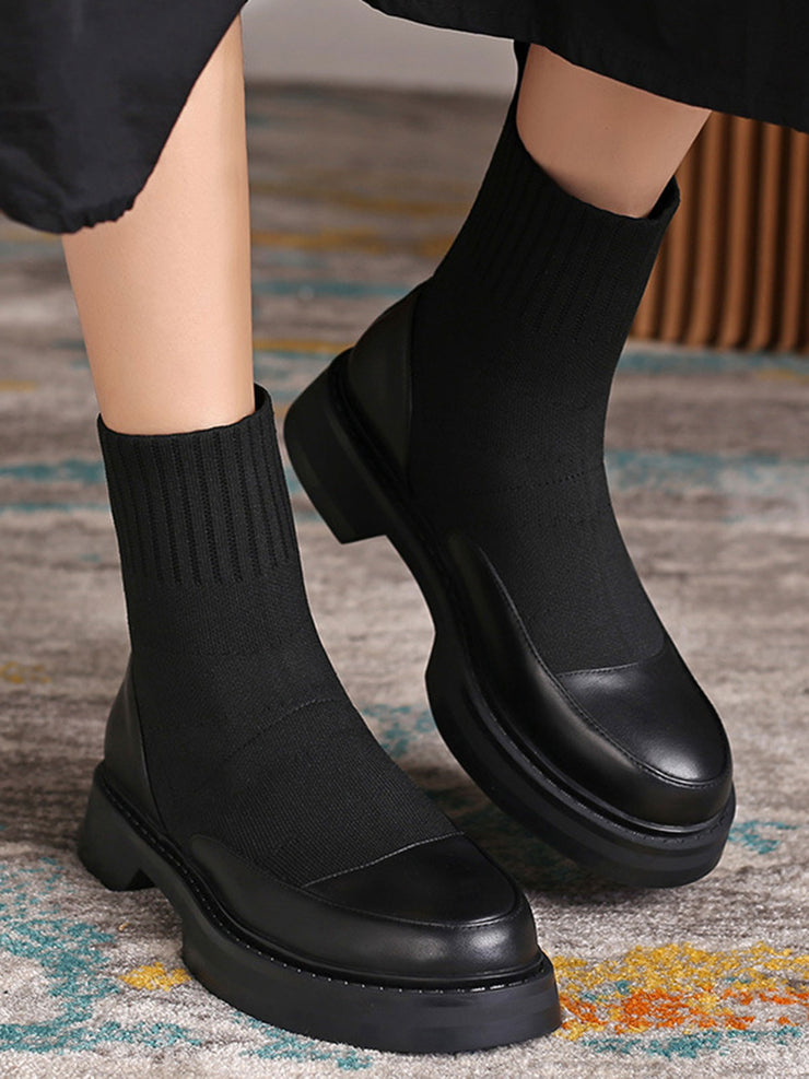 Vintage Platform Low Heel Slip-On Leather Chelsea Boots