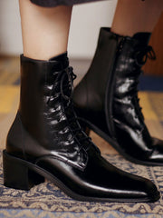 Fall Lace-Up Front Vintage High Heel Leather Fashion Boots