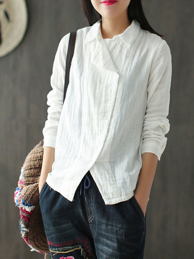 Mori Girl Ethnic Lapel Single-Breasted Spring Thin Blouse