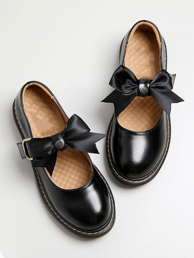Bowtie Sweet Low Heel Buckle Round Toe Spring Loafers
