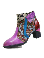 Side Zipper Euro-American Flower Leather Fashion Heels