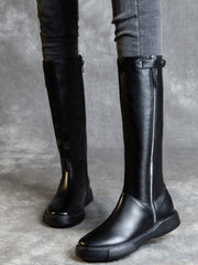 British Stiletto Heel Flat Heel Leather Riding Boots