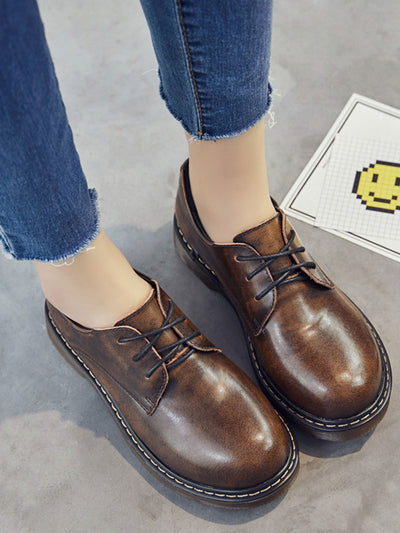 Fall Preppy Daily Platform Flat Heel Sweing Leather Brogues