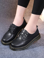 British Cross Strap Low Heel Lace-Up Front Spring Brogues