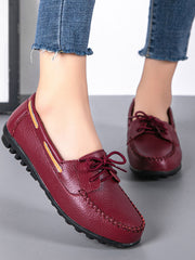 Lace-Up Front Casual Flat Heel Spring Leather Flats