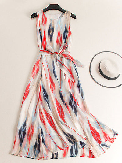 Round Neck Sleeveless Sweet Party Stripe Print Summer Dress
