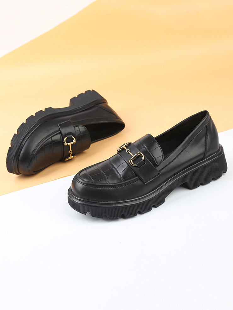 Spring Fall Platform British Casual Chunky Heel Leather Loafers