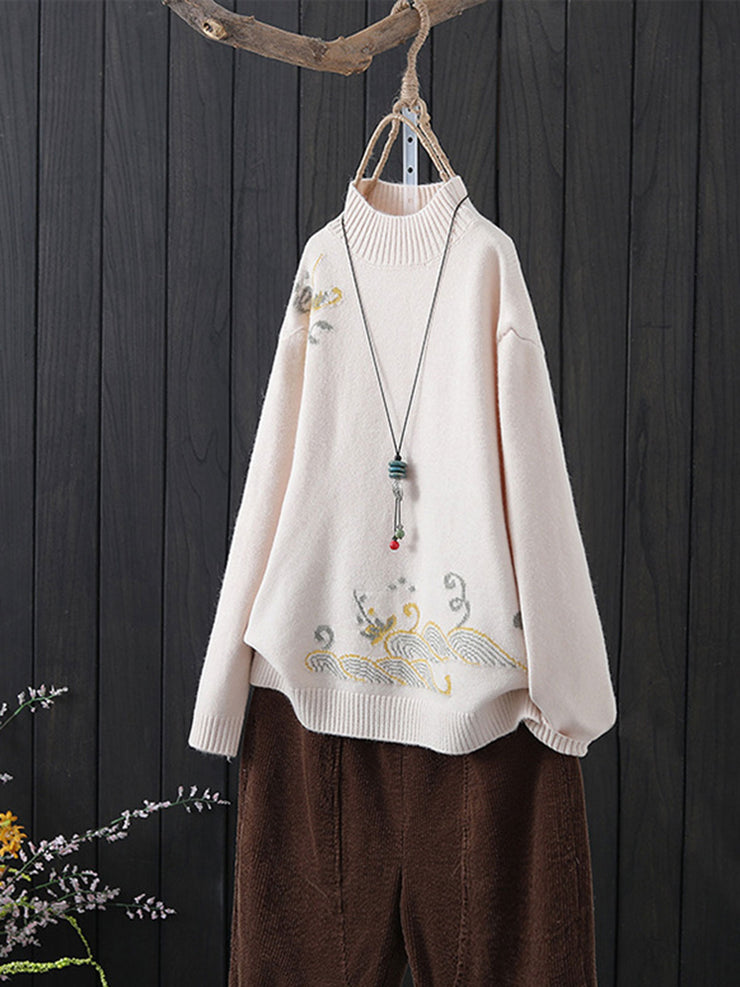Thick Pullover Korean Plain Embroidery Turtleneck Loose Sweater