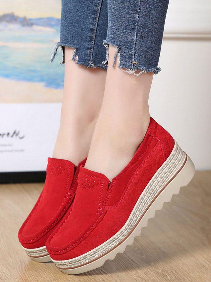 Casual Platform Wedge Heel Round Toe Spring Leather Wedge Heels