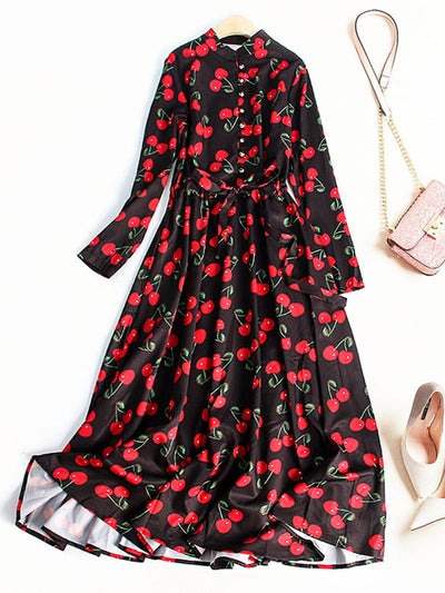 Spring Print Round Neck Long Sleeve Sweet Ankle-Length Dress