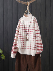 Casual Turtleneck Stripe Embroidery Long Sleeve Winter Sweater