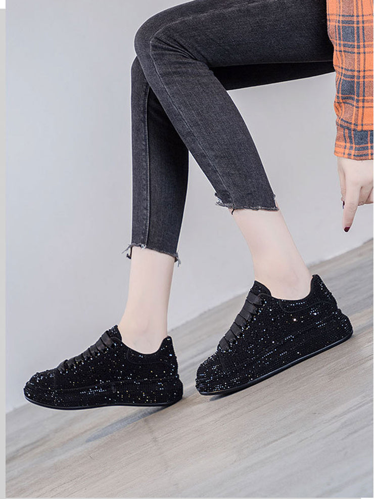 Daily Rhinestone Spring Casual Mid-Heel Leather Sneakers