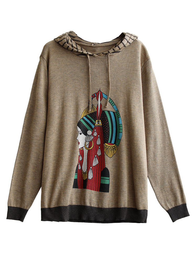 Casual Hooded Loose Cartoon Print Winter Cotton Sweater