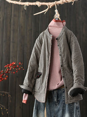Vintage Plaid Pocket Single-Breasted Fall Winter Cotton Coat