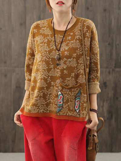 Ethnic Winter Pullover Color Block Pocket Jacquard Loose Sweater