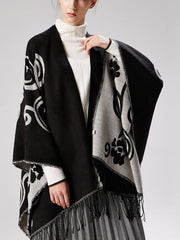 Fleece Cape Shawl Korean Flowers Cashmere Scarf