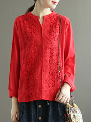 Ethnic Vintage Embroidery V-Neck Long Sleeve Loose Blouse