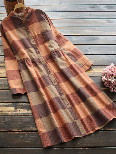 Sweet Plaid Hollow Spring Polo Neck Loose Cotton Dress