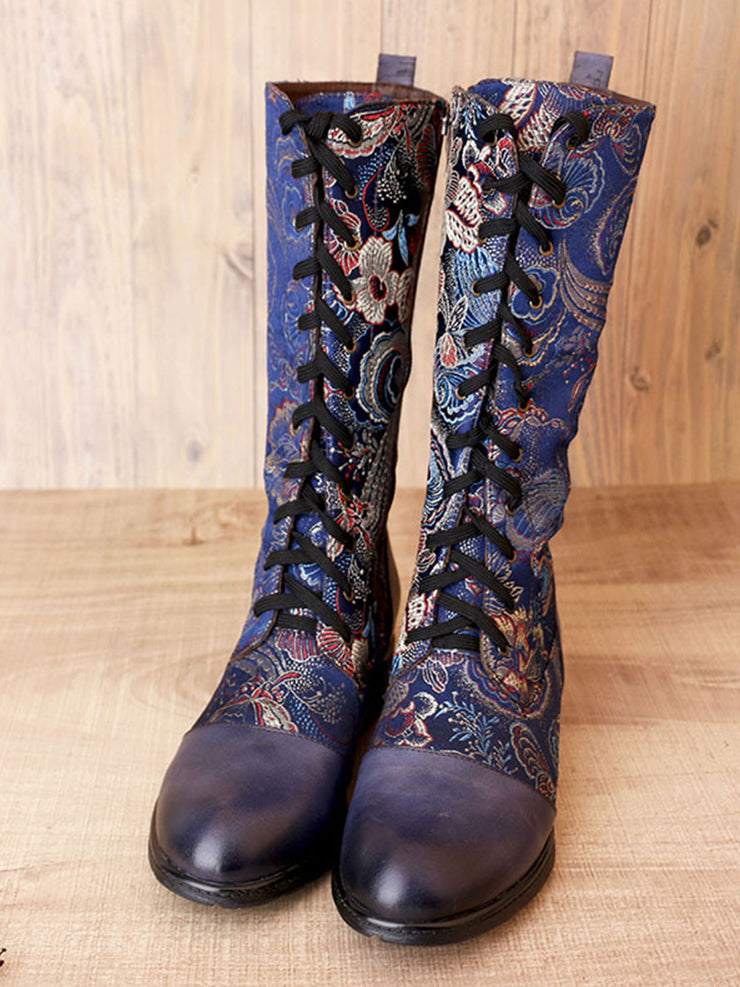 Winter Folk Style Casual Knee-High Leather Fashion Boots