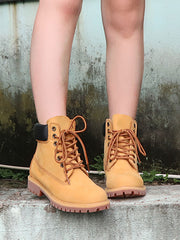 Euro-American Lace-Up Front Casual Leather Boots