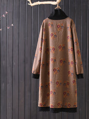 Embroidery Vintage Mid-Calf Pullover Fleece Turtleneck Straight Dress