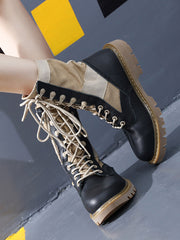 Lace-Up Front Platform Color Block Square Heel Leather Boots