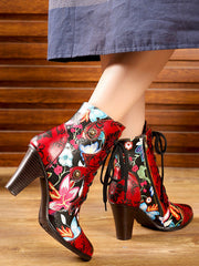 Pointed Toe High Heel Folk Style Vintage Embossed Fashion Heels