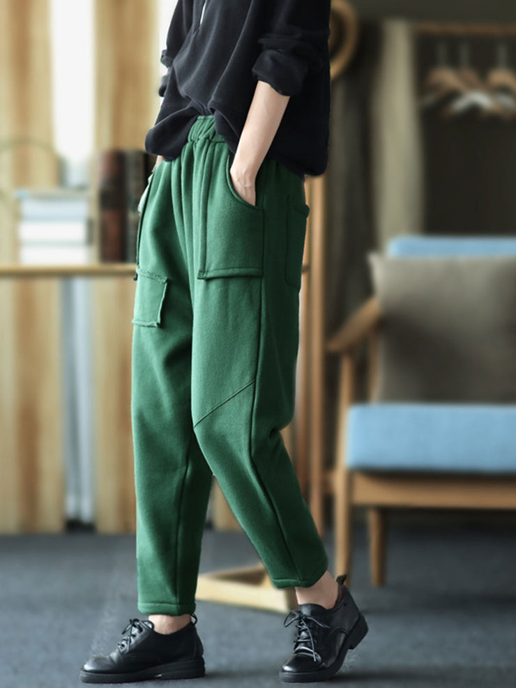 Vintage Cotton Fleece Loose Winter Pocket Harem Pants