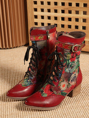 Vintage Winter Buckle Flower Square Heel Leather Heels