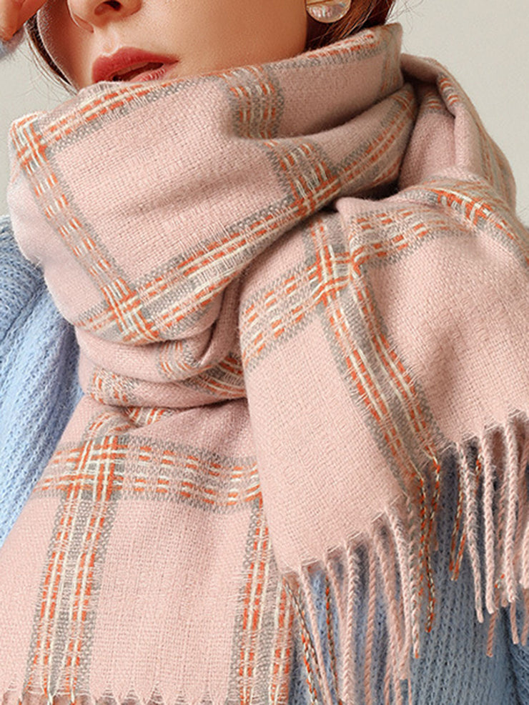 Spring Winter Korean Plaid Tassel Cashmere Scarf
