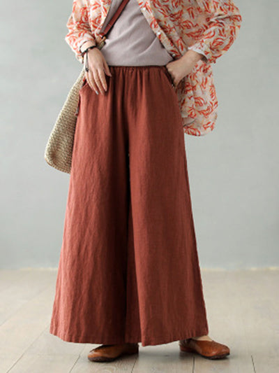 Vintage Wide Legs Loose Spring Fall Lace-Up Pants