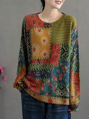 Vintage Round Neck Cartoon Pullover Print Winter Cotton Sweater