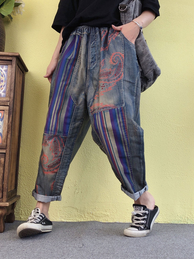 Color Block Vintage Worn Harem Loose Cotton Jeans