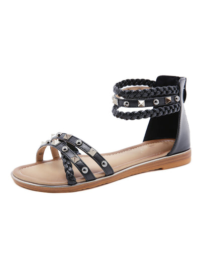 Summer Folk Style Casual Back Zip Rivets Flat Heel Sandals