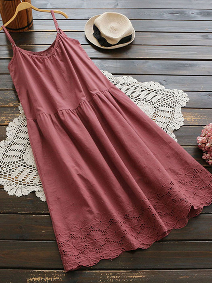 Summer Hollow Cotton A-Line Loose Pullover Sweet Dress