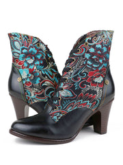 Rivets Flower Euro-American Ankle Leather Fashion Heels